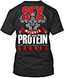 Sex Weights and Protein Shakes Gym Fitness Tshirt for Men Black