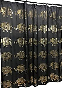 Elephant Fabric Shower Curtain: Elegant Gold Metallic Dot Design (Black)