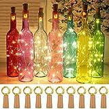 Paquet de 15 lumières de bouteille, guirlandes en forme de liège 20 micro LED 2M guirlandes blanches chaudes pour la fête de mariage Noël Halloween mariage (lumières de bouteille blanc chaud)