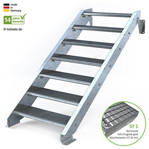 Außentreppe 7 Stufen 80 cm Laufbreite - ohne Geländer - Anstellhöhe variabel von 116 cm bis 140 cm - Gitterroststufe ST1 - feuerverzinkte Stahltreppe mit 800 mm Stufenlänge als montagefertiger Bausatz