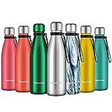 Newdora Botella de Agua Acero Inoxidable 500ml, Aislamiento de Vacío de Doble Pared, Botellas de Frío/Caliente, con 1 un Cepillo de Limpieza, para Niños, Deporte, Oficina, Gimnasio, Ciclismo, Silver