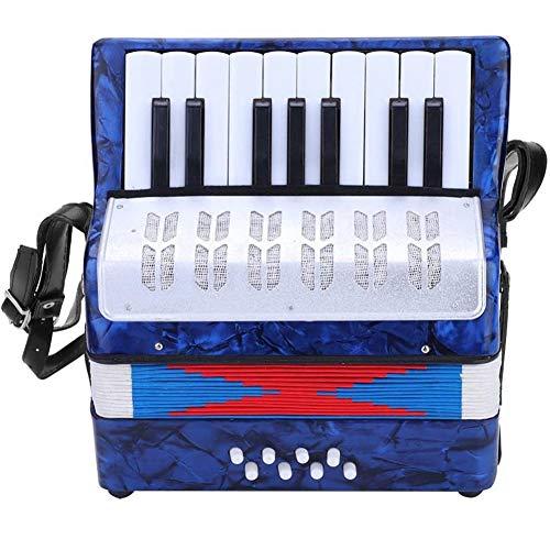 Acordeón A Piano, Contrabajo 17 Teclas 8 Botón De La Mano del Piano Acordeón Acordeón Luz Educación Instrumento Musical con El Niño Manual De Buen Estudiante Principiante (Azul),Azul