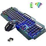 2.4G Ensemble de clavier et de souris de jeu sans fil rechargeable , grande capacité 3800mAh,...