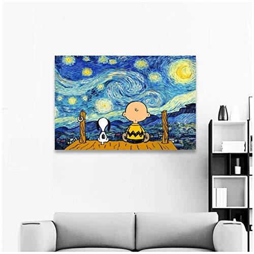 KONGZIR Snoopy Und Charlie Wandkunst Druck Leinwand Malerei Poster Und Drucke Wandbilder Für Wohnzimmer Dekoration -60X90Cmx1Pcs- Kein Rahmen
