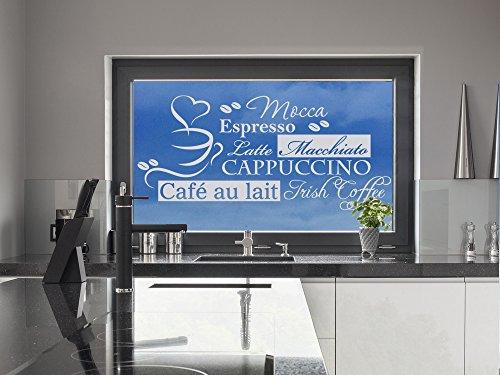 GRAZDesign Fenstertattoo Spruch Mocca Espresso mit Tasse, Fensteraufkleber für die Küche, Glastattoo Küchen-Fenster / 66x30cm