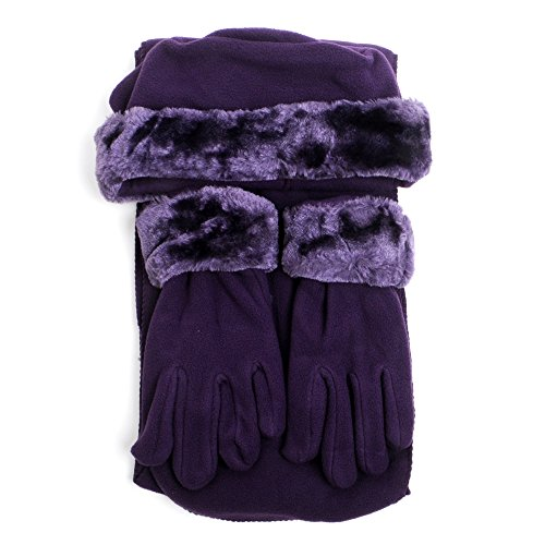 Cloche Fur Trim 3 Piece Fleece Hat, Scarf & Glove Women's Winter Set, Purple