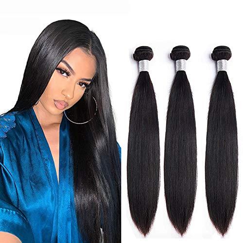 NIUDINNG Brazilian Hair 3 Bundles Echte Haare Tressen Real Hair Weave Extension 300g Farbe #1b NatüRliches Schwarz Short Soft Hair 10 12 14 Zoll