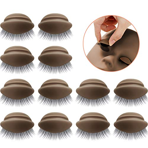 2 Boxes 6 Pairs Replacement Eyelids for Mannequin Head Removable Realistic Eyelids with Eyelashes Mannequin Head Eyelids for Eyelash Training Practice Makeup Eyelash Extensions (Dark Color)
