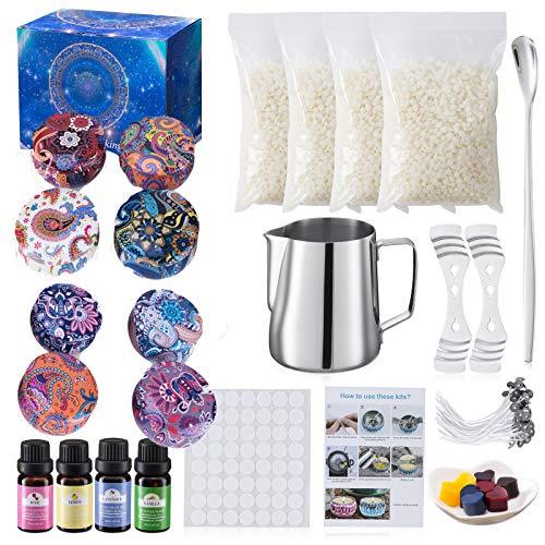 Kerzenherstellung DIY Kit Geschenkset, Bienenwachs, 50 Wachs Dochte mit Unterlage, 8 DIY Kerzen Blechdosen, 123 Sätze Duftkerzen (diy-4)