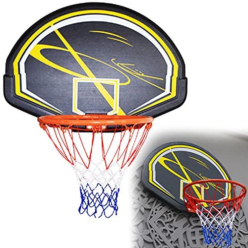 ATGTAOS Obręcz do koszykówki + zestaw tablic do koszykówki 79 * 56 cm, do wewnątrz na zewnątrz wisząca bramka do koszykówki z siatką na każdą pogodę montowaną na ścianie obręcz do koszykówki, przenośny system bramek do koszykówki