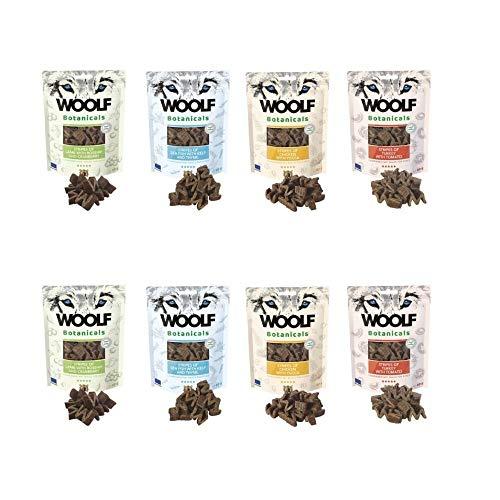 Snacks Woolf Botanicals Variados de Pollo, Pescado, Pavo y Cordero - 8 Sobres x 80 gr Cada uno - Sin conservantes, colorantes ni aditivos | ANIMALUJOS