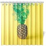 Bad Vorhang Ananas Grüner Rauch Auf Leuchtend Gelben Wasserdichten Duschvorhang, 72 X 72 Zoll Duschvorhang Haken Enthalten