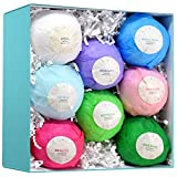 8 Bath Bomb Gift Set - HUGE All Natural Assorted Essential Oil Bath Bombs - Infused with Essential Oils, Jojoba Oil, and Olive Oil for deep Moisturizing - Great Gift