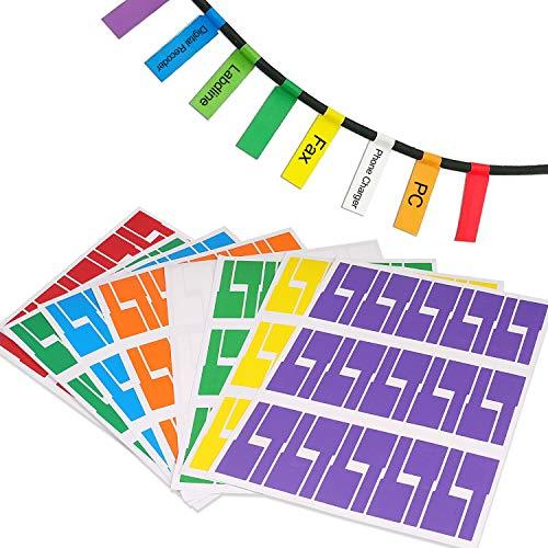 Kabeletiketten, 480pcs Kabel Beschriftung Farben Selbstklebend Kabeletikett, UV-beständige Wasserdicht Reißfest Haltbar Kabel Aufkleber für Laserdrucker, 8 Farben 8 Blatt