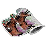 DmiGo Horse Racing Oven Mitts and Potholders BBQ Gloves - Recycled Cotton Infill Non-Slip Cooking Gloves for Kitchen Cooking Baking Grilling