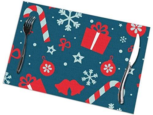 Sunwei bedrijf Placemats voor eettafel set van 6,Placemats voor eettafel set van 6Seamless Vector Patroon Kerstmis tafelkleed 45X30 CM