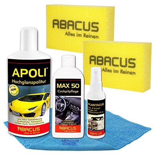 ABACUS AUTOPFLEGE Set Lack & Cockpit (7370) - 1x 500 ml APOLI Hochglanzpolitur - 1x 250 ml Max 50 Cockpitpflege - 1x 75 ml PLANTACUS Antibeschlagmittel - Zubehör