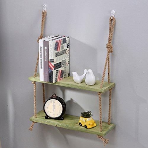 MXK-J Creatieve rekken, Gratis punch Wandplank Separator hennep touw Vintage Effen hout Muur opknoping woonkamer slaapkamer Decoratieve frame DIY 50 * 15CM