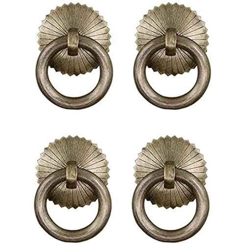 Kitchen Door Handles Cabinet Handles 4 Pcs Kitchen Cabinet Cupboard Door Ring Pull Handle with Screws Antique Traditional Appearance 60mm Solid Bronze Tone Ring Pull,Hardware Parts
