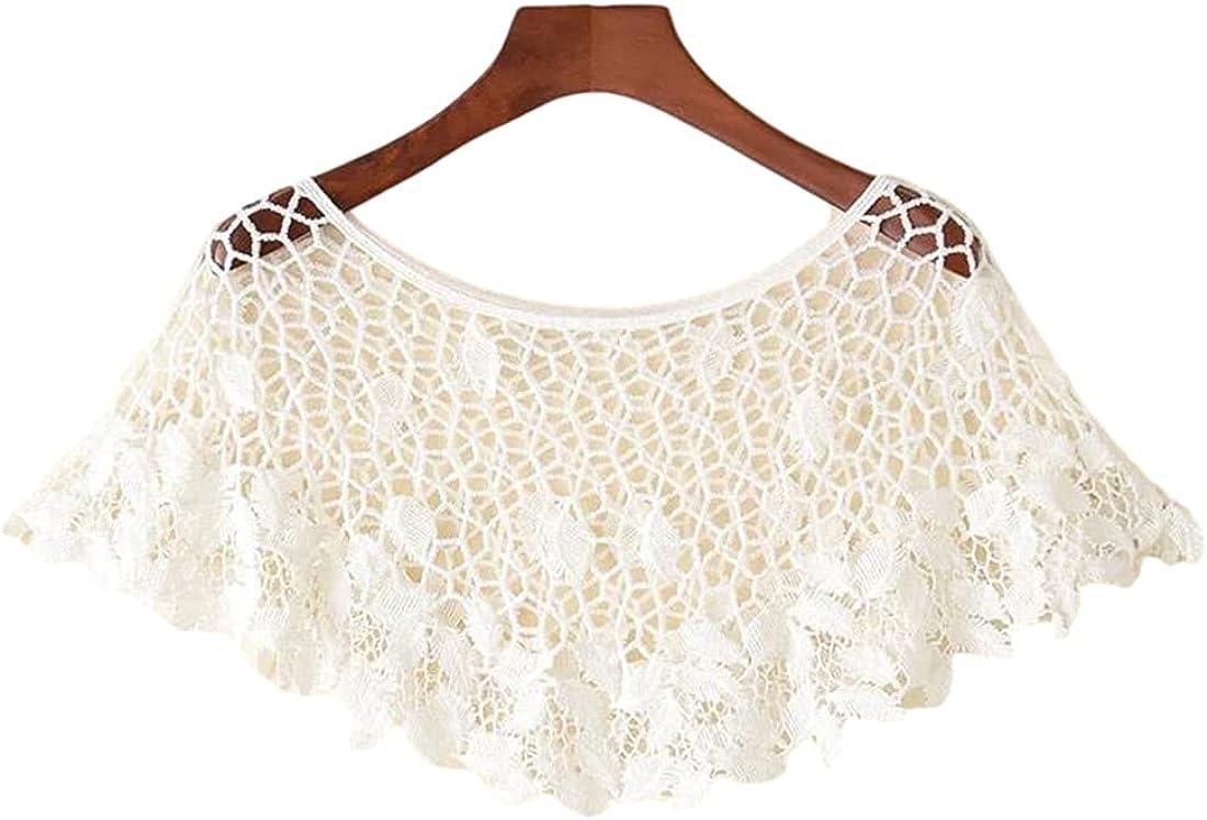 PUWEI Womens Crochet Cotton Knit Floral Lace Shrug Bolero Bridal Poncho Cover Up