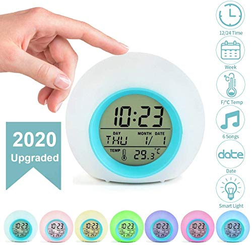 Jeteven Kids Alarm Clock Digital for Student Boys Girls 7 Colors Changing Light Bedside Children's Bedroom Indoor Temperature Touch Control Snoozing (Blue)