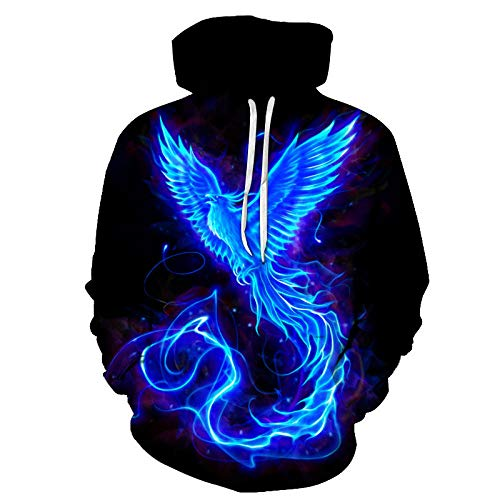 WPHRL Jungen Mädchen Hoodie 3D Print Kapuzenpullover Blauer Phoenix Sweatshirts Mit Kapuze Pullover mit Taschen Halloween-Party M
