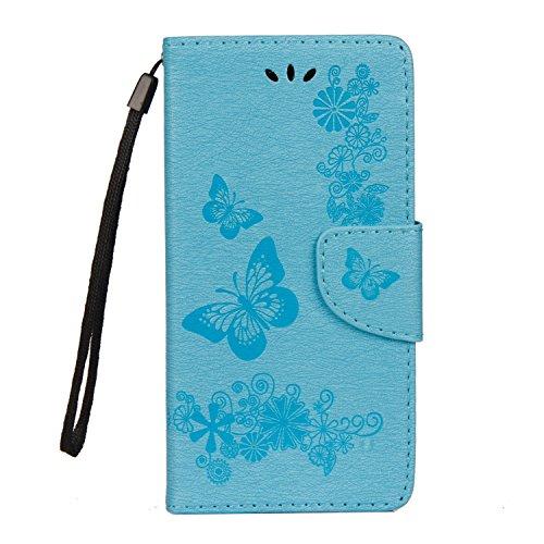 xifanzi Brieftasche für PU Flip Folie Schmetterling Blume Design HandyHülle Deckel Komplette Schutzhülle Leder Tasche für Samsung WIKO Tommy 2 Hülle (Blau)