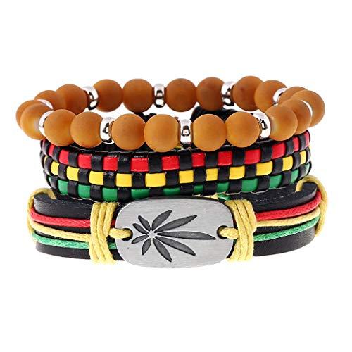 lijun 3Pcs Jamaica Cuero Weed Cordón de cáñamo Pulseras Trenzadas Tejidas Rasta Reggae Jeweley