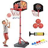 KAMDHENU Basketball Hoop, Kids Toy Basketball Hoop with Darts Target 2 in 1 with Height-Adjustable 3.2ft-6.2ft, Portable Basketball Hoop Indoor and Outdoor Activities for Kids Age 3-8(with 3 Balls)