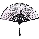 Ventaglio Pieghevole, Giapponese Ventaglio con nappa, bambù Ventagli, bambù stile Ventaglio pieghevole per la decorazione della, cosplay, matrimoni (Nero)