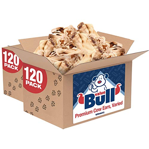 ValueBull Cow Ears, Varied Sizes/Shapes, 240 Count - All Natural Dog Treats, 100% Angus Beef, Single Ingredient Rawhide Alternative, Fully Digestible, Cleans Teeth & Gums