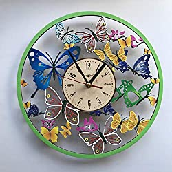 7ArtsStudio Colored Butterfly Wall Clock Made of Wood - Perfect and Beautifully Cut - Decorate Your Home with Modern Art - Unique Gift for Him and Her - Size 12 Inch