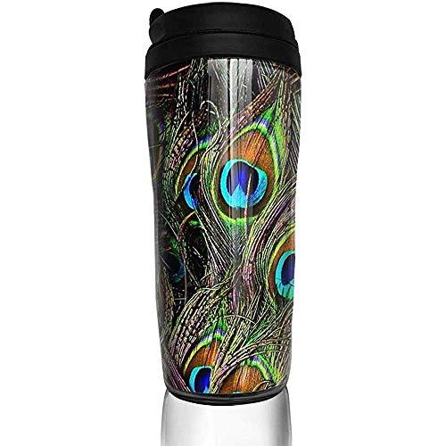 Yuanmeiju Plumas de pavo real Invasión Botella de agua Tazas Trave Taza de café Vaso Taza reutilizable de viaje al aire libre