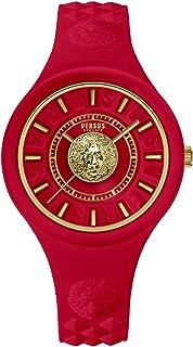 Versus Versace Fire Island - Reloj de pulsera para mujer (39 mm, correa de silicona), color rojo y dorado