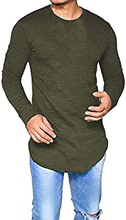 Makkrom Mens Long Sleeve T Shirts Hippie Solid Slim Basic Stretchy Long Line Tee Tops