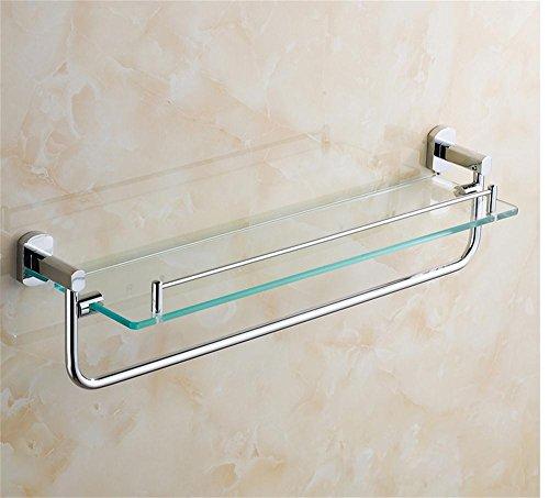 Étagères en verre à 1 niveau de salle de bains avec le support de serviette, cuivre, finition de chrome, support de stockage de cosmétiques, 60 * 15 * 14cm /salle de bains