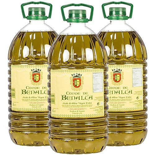 Aceite de Oliva Virgen Extra Conde de Benalúa Gourmet - Pack 3 Garrafas 5 Litros [Picual] [Origen de España]