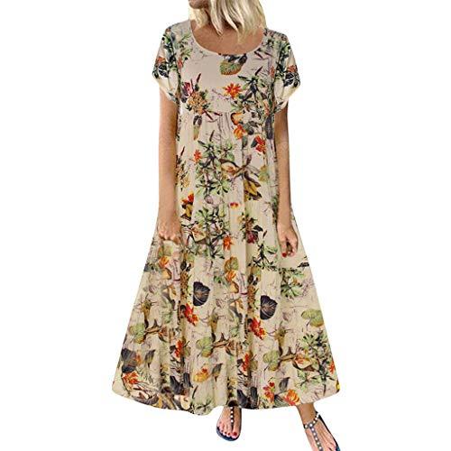 Damen Kleider Sommer O Ausschnitt Kurzarm Sexy Strandkleid Jeanskleid Kleid Großer Größe Kleid Baumwolle Leinen Bedruckt Partykleid Patchwork Maxikleid Langes Kleid (EU:42, Gelb)
