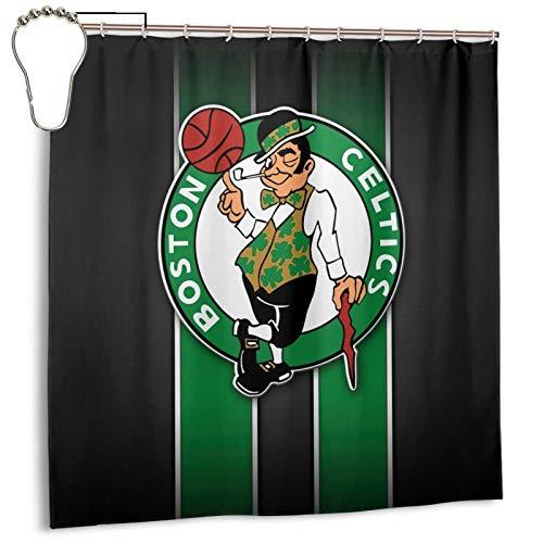 WEIQIQQ Celtics_Basketball Sports_Boston Shower Curtain Set Polyester Fabric 72 X 72 Inch, Decorative Bath Waterproof Heavy Duty Bathroom Shower Curtain Liner with 12 Hooks