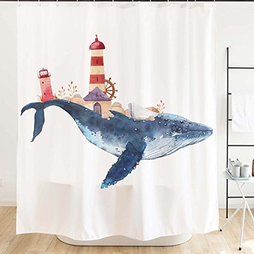 Ofat Home Whale and Lighthouse Shower Curtain with Hooks 71'x71', Blue Red Cartoon Marine Animal Helm Nautical Sailing Boat Waterproof Fabric Bathroom Accessories Decor