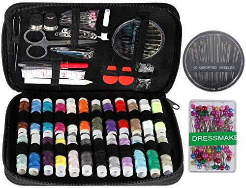 Anpro Kit de Costura, Costurero de 220 Piezas, Estuche Oxfords Portátil de Alta Calidad, Mini Kit de Costura Para el Hogar, Viajes y Emergencias, Negro
