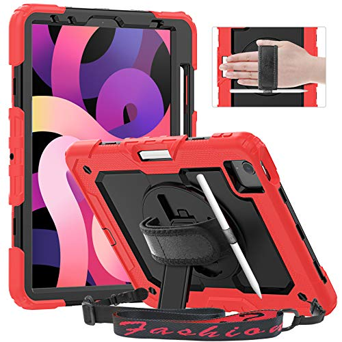 Timecity iPad Air 4 Case 10.9 Inch 2020 iPad Air 4th Generation Case A2316 A2324 A2325 A2072, with Screen Protector/Swivel Kickstand/Hand Strap/Pencil Holder Cover Cases for iPad Air 4th Gen, Red