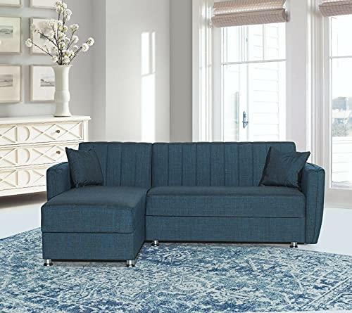 Divano letto angolare con penisola Reversibile a destra/sinistra contenitore in tessuto con penisola modello Mersin corner 230x170 cm (Blu)