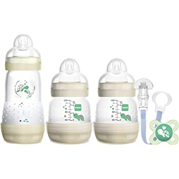 MAM Welcome to The World Set, Newborn Bottle Set with 0-2 Months Baby Soother and Clip, Newborn Baby Gifts, Grey (Designs May Vary)