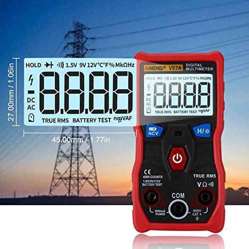 LOISK Multímetro Digital Profesional, RMS 4000 Cuenta Multímetros Oscilación Manual y Automatica Medidas Voltaje, Corriente, Resistencia, Continuidad, Capacitancia, Frecuencia,Rojo