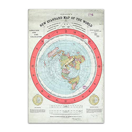 ASENART Flat Retro Earth Map - Gleason's New Standard Map of The World Poster Waterproof Canvas Print No Frame-12 x18