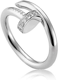 Helen de Lete Simple Rhinestone Nail Sterling Silver Open Ring-Silver Color