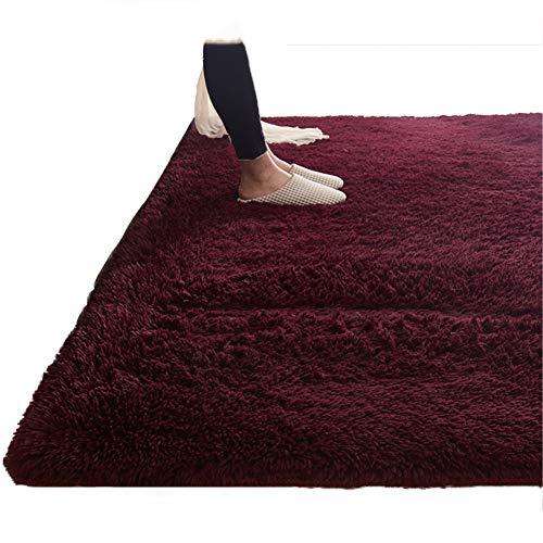 DTDM Norte de Europa Grueso alfombras de área Lavables Antideslizante Alfombra de Pelo Largo Shaggy para Salon Dormitorios Alfombra Grande Tacto Suave Decoración hogareña GrisE-W160xL230cm(63x91inch)