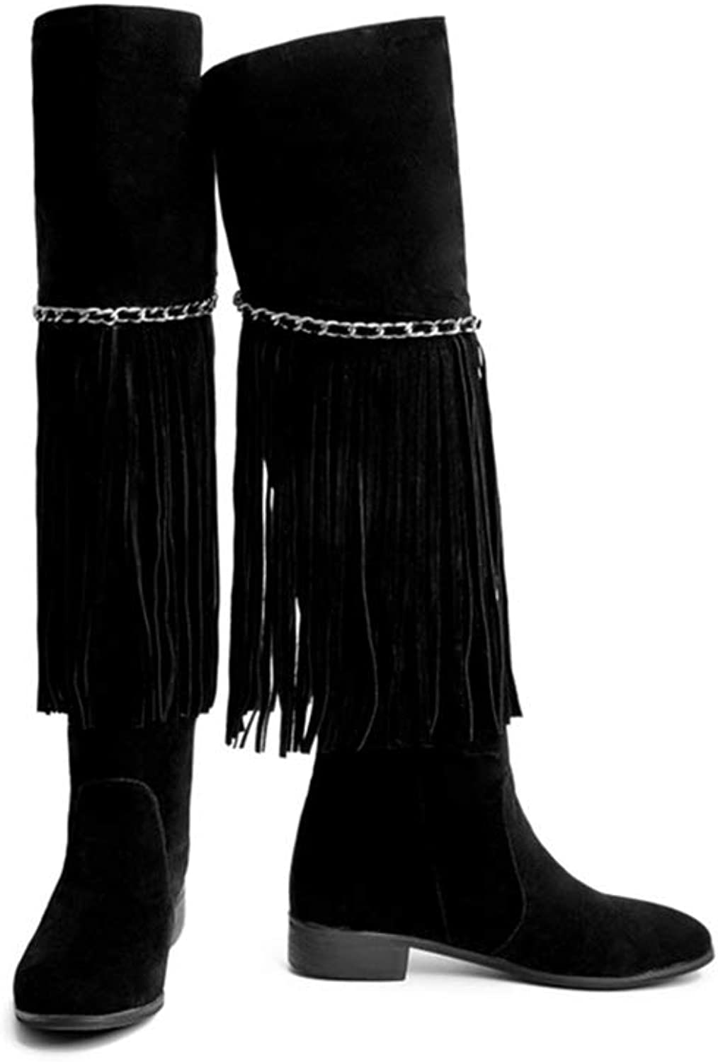 Over Knee High Boots Flat Round Toe Slip-On Flat shoes