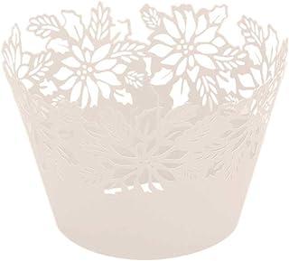 ifundom Lot de 50 emballages de gâteau créatifs en papier creux pour décoration de gâteau de mariage Blanc titane